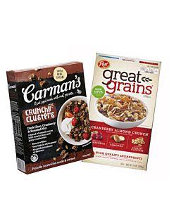 【全球獨家】[澳洲 Carman's]+蔓越莓黑巧克力燕麥脆榖片 (500g/盒) + [美國Post] 小紅莓杏仁穀物脆片(396g/盒)【肉桂添加】