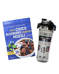 [即刻補充組][Daily Boost] 黑可可藍莓蛋白質酥脆穀物 (375g/盒)韓國Progainer搖搖杯600ml組合