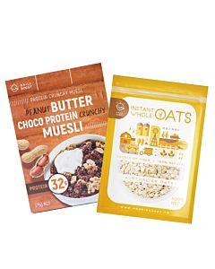 [健身必備組][Daily Boost] 花生巧克力蛋白酥脆穀物 (375g/盒)+即食大燕麥(無添加糖)(500g/包)