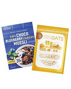 [健身必備組][Daily Boost] 黑可可藍莓蛋白酥脆穀物 (375g/盒)+即食大燕麥(無添加糖)(500g/包)
