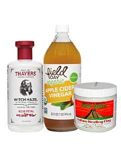 [深清保濕三件組]-Aztec Secret印度神泥+有機蘋果醋+Thayers金縷梅玫瑰化妝水
