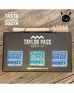 [紐西蘭TaylorPass] 混裝蜂蜜禮盒(琉璃苣x2三葉草x1) (375g x 3瓶)