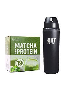 [新手組合] Daily Boost運動乳清蛋白粉-宇治抹茶(7包/盒)+美國 HIIT BOTTLE極限健身水瓶-質感黑(709ml)