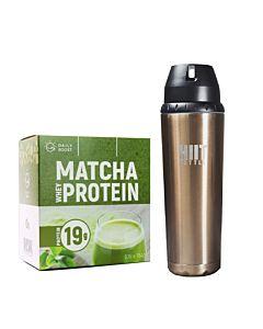 [新手組合] Daily Boost運動乳清蛋白粉-宇治抹茶(7包/盒)+美國 HIIT BOTTLE極限健身水瓶-古銅金 (709ml)