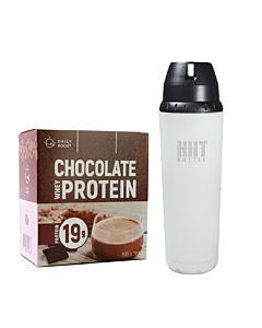 [新手組合] Daily Boost運動乳清蛋白粉-特濃可可(7包/盒)+美國 HIIT BOTTLE極限健身水瓶-時尚白(709ml)