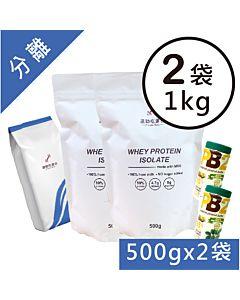[組合商品] 無添加分離乳清蛋白(MSG分裝)(1kg)+PB2花生粉(184g*2)