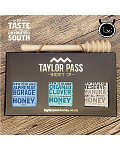 [紐西蘭TaylorPass] 白金蜂蜜禮盒 (麥蘆卡UMF10+、琉璃苣、三葉草) (375g x 3瓶)