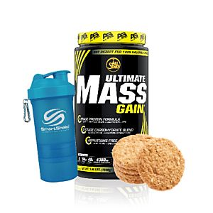 [組合商品] 德國 Allstars 高熱量蛋白粉-餅乾風味(1.8kg/罐)+瑞典SmartShake NEON Series搖搖杯(600ml)-藍色