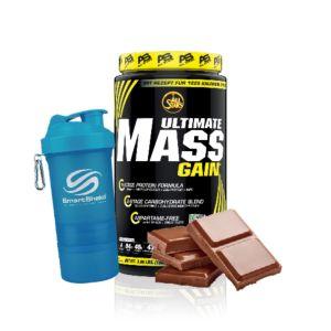 [組合商品] 德國 Allstars 高熱量蛋白粉-濃郁巧克力風味(1.8kg/罐)+瑞典SmartShake NEON Series搖搖杯(600ml)-藍色