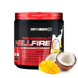 [南非 SUPPLEMENTS SA] Hellfire 訓練前營養補充食品-芒果椰子(200g/罐)