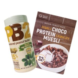 [花生可可組][Daily Boost日卜力] 雙倍可可蛋白酥脆穀物 (375g/盒)[PB2] 粉狀花生醬 (184g/罐)組合