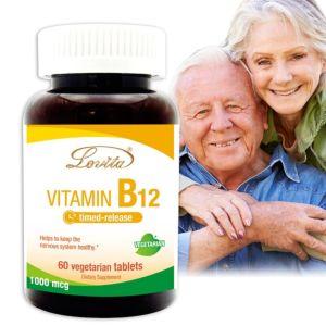 [Lovita 愛維他] 高單位緩釋型維生素B12(60錠)-素食可