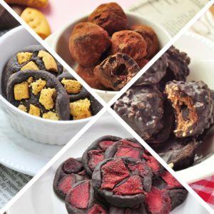 [查克派] 蛋白質巧克力 - 經典榛果巧克力球+松露莓果巧克力球+草莓巧克力磚+海鹽餅乾巧克磚 (4包/組)