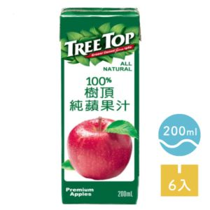 [TreeTop樹頂] 100%純蘋果汁 (200ml/罐x6罐/組)