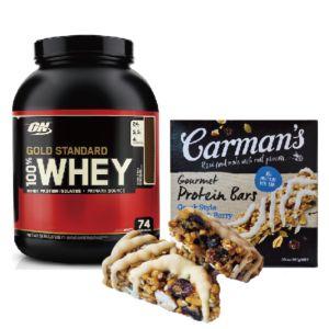 [美國 ON] 黃金比例乳清蛋白-雙倍巧克力 (5磅/罐)+[澳洲 Carman's]莓果希臘優格蛋白質棒(5條/盒)