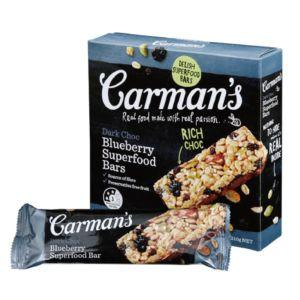 [澳洲 Carman's]  黑巧克力藍莓燕麥棒 (5條/盒)