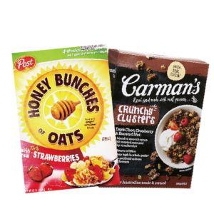 [澳洲 Carman's] 蔓越莓黑巧克力燕麥脆榖片 (500g/盒)&[美國Post] 草莓蜂蜜穀物脆片 (368g/盒)