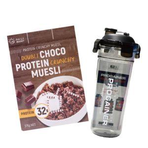 [即刻補充組][Daily Boost日卜力] 雙倍可可蛋白酥脆穀物 (375g/盒)韓國Progainer搖搖杯600ml組合