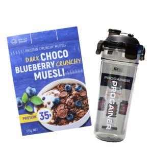 [即刻補充組][Daily Boost日卜力] 黑可可藍莓蛋白質酥脆穀物 (375g/盒)韓國Progainer搖搖杯600ml組合