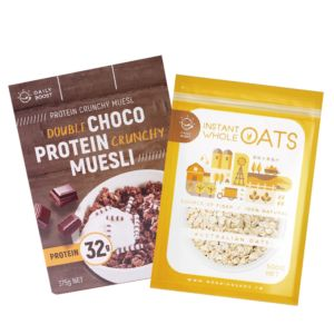 [健身必備組][Daily Boost] 雙倍可可蛋白酥脆穀物 (375g/盒)+即食大燕麥(無添加糖)(500g/包)