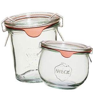 [德國Weck]744流線圓玻璃罐 580ml&[德國Weck]742高筒圓玻璃罐經典奢華組