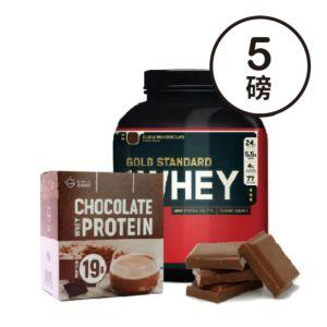 [組合商品] ON雙倍巧克力(5磅/罐)+Daily Boost運動乳清蛋白粉-特濃可可(7包/盒)