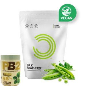 [英國 Bulk Powders] 純素豌豆蛋白(1000g/包)+PB2 粉狀花生醬 (454g/罐)