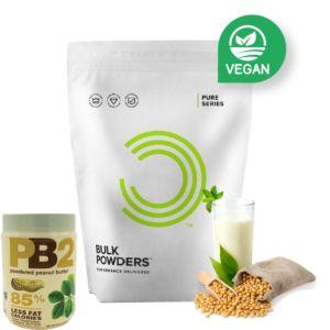[英國 Bulk Powders] 純素大豆蛋白(1000g/包)+PB2 粉狀花生醬 (454g/罐)