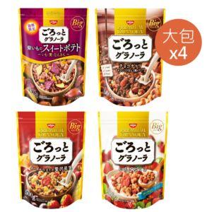 預購商品 [日清 Nissin] 熱銷口味麥片組合(大包)-巧克力堅果+地瓜栗子南瓜+草莓+楓糖水果