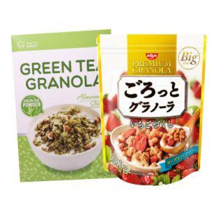 [日清Nissin] 草莓早餐麥片(500g)+[Daily Boost] 綠茶杏仁烤燕麥 (350g)