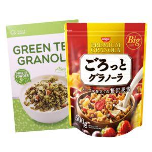 [日清Nissin] 奢華楓糖水果麥片(500g)+[Daily Boost日卜力] 綠茶杏仁烤燕麥 (350g)