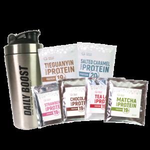 [新手組合] Daily Boost不鏽鋼搖搖杯+運動乳清蛋白粉六入組