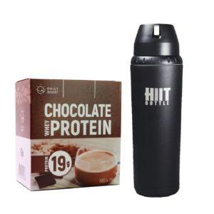 [新手組合] Daily Boost運動乳清蛋白粉-特濃可可(7包/盒)+美國 HIIT BOTTLE極限健身水瓶-質感黑(709ml)