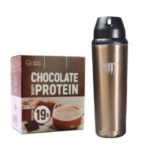 [新手組合] Daily Boost運動乳清蛋白粉-特濃可可(7包/盒)+美國 HIIT BOTTLE極限健身水瓶-古銅金(709ml)