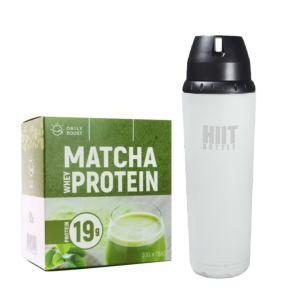 [新手組合] Daily Boost運動乳清蛋白粉-宇治抹茶(7包/盒)+美國 HIIT BOTTLE極限健身水瓶-時尚白(709ml)