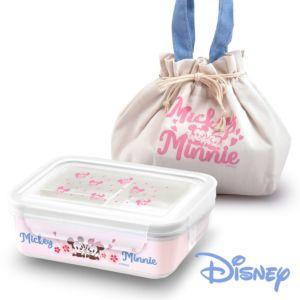 [Disney] 櫻紛米奇 陶瓷分隔三格密封便當盒-櫻花粉 (850ml)