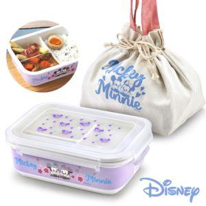 [Disney] 櫻紛米奇陶瓷分隔三格密封便當盒-粉藕紫 (850ml)