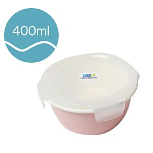 [Neoflam] 圓型陶瓷保鮮盒(400ml/粉紅色)