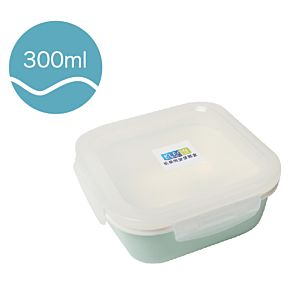 [Neoflam] 正方型陶瓷保鮮盒(300ml/淡綠色)
