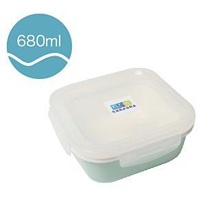 [Neoflam] 正方型陶瓷保鮮盒(680ml/淡綠色)