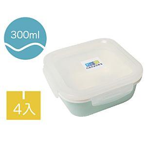 [Neoflam] 陶瓷保鮮盒4入組(容量300ml/淡綠色/正方形)