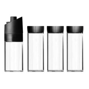 [MIX] 歐風香料收納組- 胡椒研磨瓶(100ml,黑色)+玻璃密封罐(160ml*3,黑色