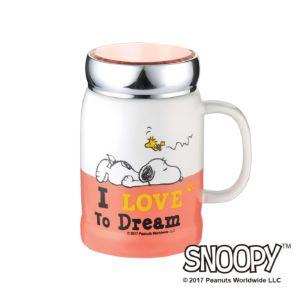 [Snoopy史努比] 小日子陶瓷蓋杯(珊瑚橘)
