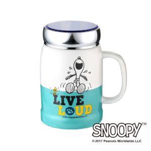 [Snoopy史努比] 小日子陶瓷蓋杯(湖水綠)