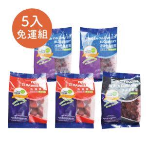 [冷凍草莓*2+藍莓*2+黑醋栗*1] 5包入家庭免運組 (400g/包*5包)