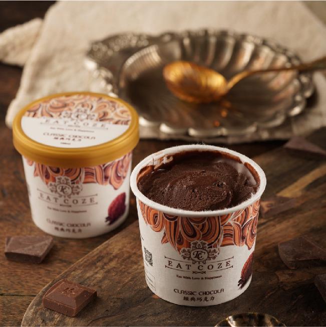 [一口痴] 減糖低碳精緻盒裝冰淇淋-經典巧克力100ML*15
