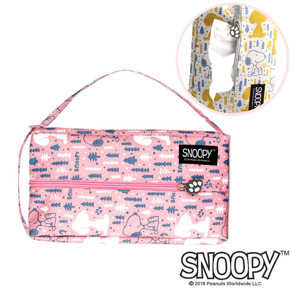 [Snoopy 史努比] 下雪森林兩用面紙套(粉色)