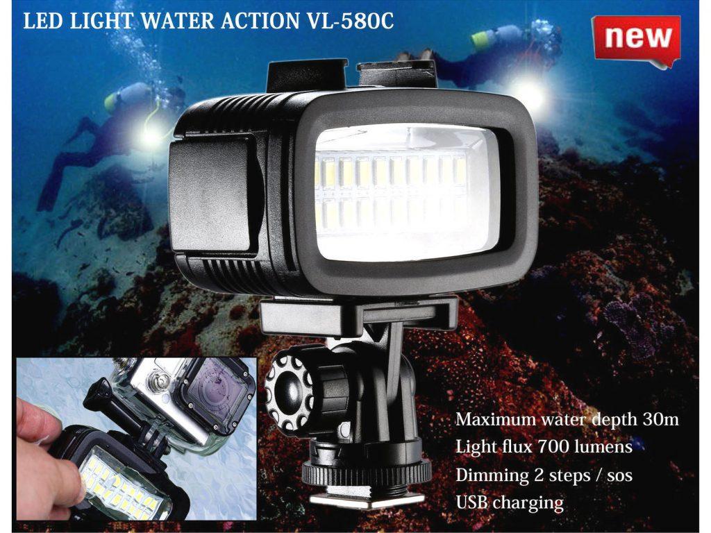 LPL、大容量バッテリーで明るくムラがない水中撮影用LEDライト・VL-580C を発売