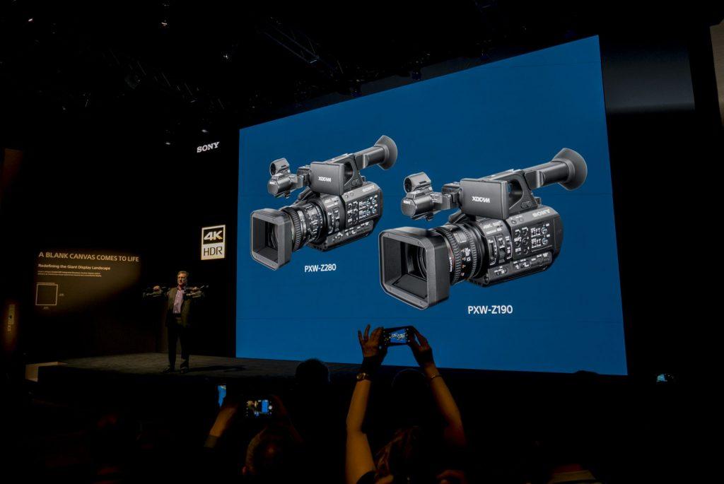【NAB show2018】ソニーブースでは3板CMOS・4K60p対応のXDCAM・PXW-Z190/Z280の発表に加え、HDRやIP伝送などのワークフロー効率化の展示も
