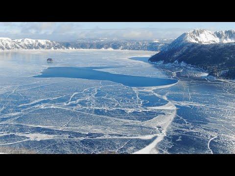 【Views】『Mavic2 zoom 4K~摩周湖結氷2019.2.11~2.15』2分6秒〜冒頭から絶景の連続で思わず唸る。全面凍結よりも美しいと作者お薦めの摩周湖の風景